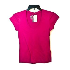 One Step Up Hot Pink V-Neck TShirt-NWT